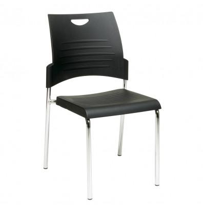 Office Star Work Smart Straight Leg Plastic Stacking Chair, 2-Pack
