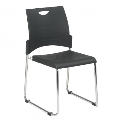 Office Star Work Smart Sled Base Plastic Stacking Chair, 2-Pack