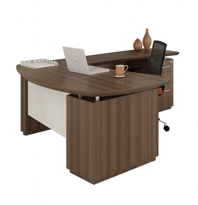 Mayline Sterling STL7 L Shaped Executive Office Desk With Pedestals, Right  Return (Shown
