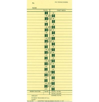 Acroprint 09-2109-000 Bi-weekly time cards
