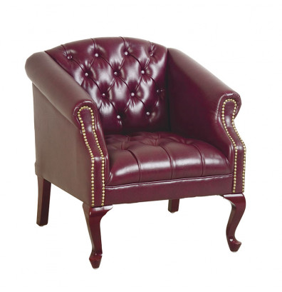 Office Star Traditional Queen Ann Vinyl Wood Club Chair