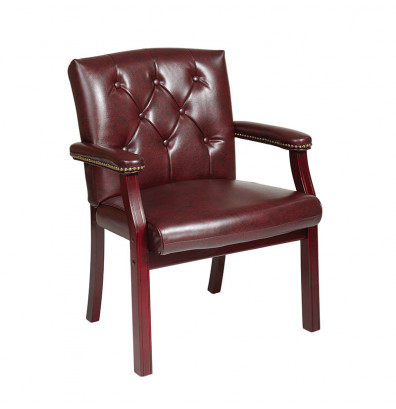 Office Star Traditional Full-Back Vinyl Wood Guest Chair