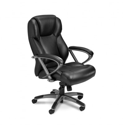 Mayline UL350H Ultimo Genuine Leather Lumbar Mid-Back Office Chair, shown in black