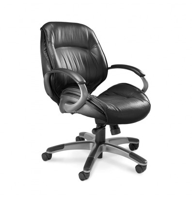 Mayline Ultimo ULMGR Genuine Leather Mid-Back Executive Office Chair