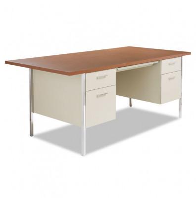 Alera 72 Quot W Straight Front Steel Double Pedestal Teacher Desk