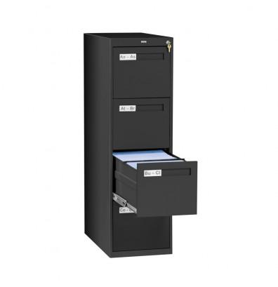 """Tennsco 4-Drawer 28"""" Deep Vertical File Cabinet, Letter - Black"""