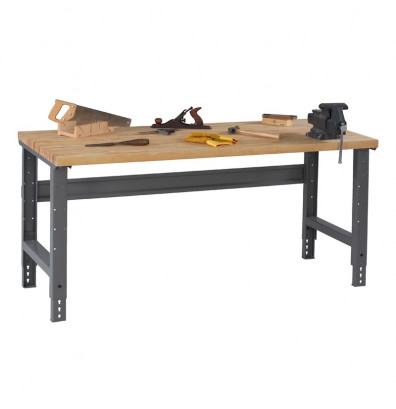 "Tennsco WBA-1-3060W Hardwood Top Adjustable Leg Workbench (60"" W x 30"" D x 27-7/8"" - 35-3/8"" H)"