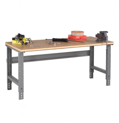 "Tennsco WBA-1-3660C Compressed Wood Top Adjustable Leg Workbench (60"" W x 36"" D x 27-7/8"" - 35-3/8"" H)"