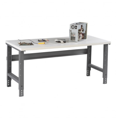 "Tennsco WBA-1-3072P Plastic Laminate Top Adjustable Leg Workbench (72"" W x 30"" D x 27-7/8"" - 35-3/8"" H)"