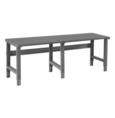 "Tennsco WBA-1-3696S Steel Top Adjustable Leg Workbench (96"" W x 36"" D x 27-7/8"" - 35-3/8"" H)"
