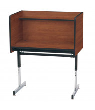 Smith Carrel Height Adjustable Pedestal Base Study Carrel (Shown in Cherry)