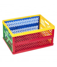 ECR4Kids Large Multicolored Vented Collapsible Crate, 12 Pack