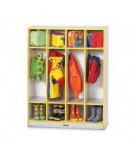 Jonti-Craft Rainbow Accents 4-Section Cubbie Coat Locker - Shown in Yellow