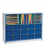 Jonti-Craft Rainbow Accents Sectional Mobile Cubbie Classroom Storage with Trays (in navy, example of use)