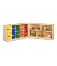 Jonti-Craft 20 Cubbie-Tray Fold-n-Lock Classroom Storage Unit with Colored Trays