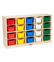 ECR4Kids Birch 20 Cubby-Tray Classroom Storage Cabinet with Bins (Shown with Assorted Bins)