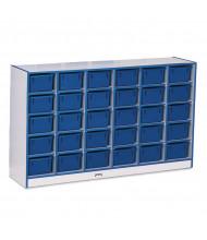 Jonti-Craft Rainbow Accents 30 Cubbie-Tray Mobile Classroom Storage with Trays (blue)