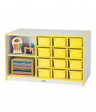 Jonti-Craft Rainbow Accents Mobile Cubbie Classroom Island Storage with Trays (in yellow, example of use)