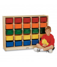 Jonti-Craft E-Z Glide 25 Cubbie-Tray Mobile Classroom Storage with Clear Trays