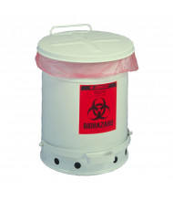 Justrite 05910 Foot-Operated Self-Closing Cover 6 Gallon Biohazard Waste Safety Can, White