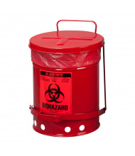 Justrite 05910R Foot-Operated Self-Closing Cover 6 Gallon Biohazard Waste Safety Can, Red