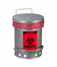 Justrite 05914 Foot-Operated Self-Closing Soundgard Cover 6 Gallon Biohazard Waste Safety Can, Silver
