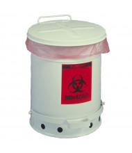 Justrite 05930 Foot-Operated 10 Gallon Biohazard Waste Safety Can, White