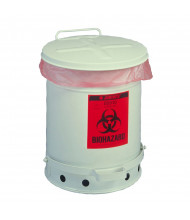 Justrite 05915 Foot-Operated Self-Closing Soundgard Cover 6 Gallon Biohazard Waste Safety Can, White