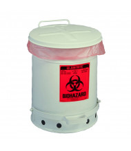 Justrite 05930 Foot-Operated Self-Closing Cover 10 Gallon Biohazard Waste Safety Can, White