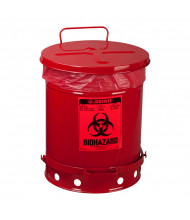 Justrite 05930R Foot-Operated Self-Closing Cover 10 Gallon Biohazard Waste Safety Can, Red