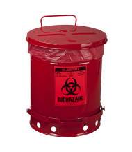 Justrite 05930R Foot-Operated 10 Gallon Biohazard Waste Safety Can, Red