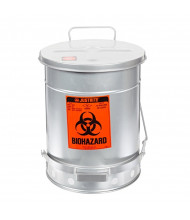Justrite 05934 Foot-Operated Self-Closing Soundgard Cover 10 Gallon Biohazard Waste Safety Can, Silver