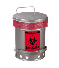 Justrite 05934 Foot-Operated Soundgard 10 Gallon Biohazard Waste Safety Can, Silver