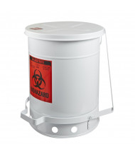 Justrite 05935 Foot-Operated Self-Closing Soundgard Cover 10 Gallon Biohazard Waste Safety Can, White