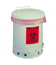 Justrite 05935 Foot-Operated Soundgard 10 Gallon Biohazard Waste Safety Can, White