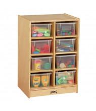 Jonti-Craft 8 Cubbie-Tray Mobile Classroom Storage Unit with Clear Trays