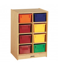 Jonti-Craft 8 Cubbie-Tray Mobile Classroom Storage Unit with Colored Trays
