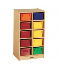 Jonti-Craft 10 Cubbie-Tray Mobile Classroom Storage Unit with Colored Trays