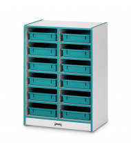 Jonti-Craft Rainbow Accents 12 Paper-Tray Mobile Classroom Storage with Paper-Trays (teal)