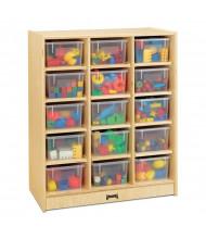 Jonti-Craft 15 Cubbie-Tray Mobile Classroom Storage Unit with Clear Trays
