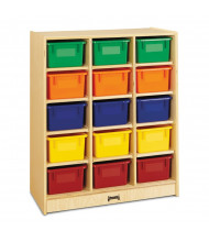 Jonti-Craft 15 Cubbie-Tray Mobile Classroom Storage Unit with Colored Trays