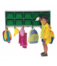 Jonti-Craft Rainbow Accents 10-Section Wall Mount Cubbie Coat Locker with Trays (Shown in Green)