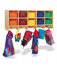 Jonti-Craft 10-Section Wall Mount Cubbie Coat Locker, Colored Trays
