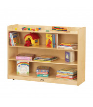Jonti-Craft 3-Shelf Adjustable Mobile Classroom Bookcase with Lip