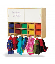 Jonti-Craft 10-Section Wall Mount Cubbie Coat Locker with Storage, Colored Trays