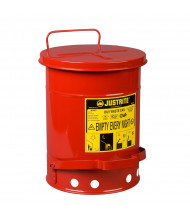 Justrite 09100 Foot-Operated Self-Closing Cover 6 Gallon Oily Waste Safety Can, Red