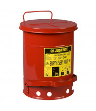 Justrite 09100 Foot-Operated 6 Gallon Oily Waste Safety Can, Red