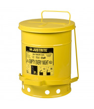 Justrite 09101 Foot-Operated 6 Gallon Oily Waste Safety Can, Yellow