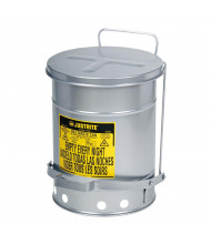 Justrite 09104 Foot-Operated Self-Closing Soundgard Cover 6 Gallon Oily Waste Safety Can, Silver