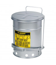 Justrite 09104 Foot-Operated Soundgard 6 Gallon Oily Waste Safety Can, Silver